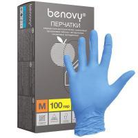Перчатки нитриловые Benovy, 100шт, голубые (M)