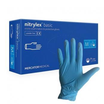 Перчатки нитриловые Mercator Medical, 100шт, голубые (M)