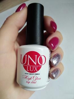 Топ UNO LUX High Gloss Top Coat Care 15мл, без липкого слоя
