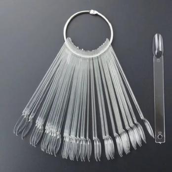 Палитра-веер на кольце 50 шт, прозрачная, Миндаль