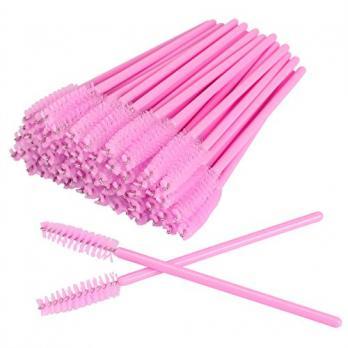 Щеточка для бровей и ресниц, 50шт, розовая