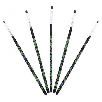 Набор кистей для росписи (5шт) с цветами, черные